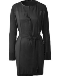 Donna Karan New York Belted Mini-Dress With Jersey Panels - Lyst