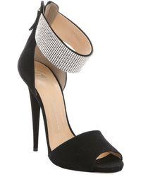 Giuseppe Zanotti Black Suede Rhinestone Ankle Cuff Stiletto Sandals - Lyst