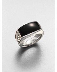 David Yurman Exotic Stone Black Onyx Narrow Ring - Lyst