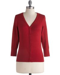 Mak Charter School Cardigan In Red - Lyst