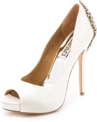 Badgley Mischka Kiara Open Toe Pumps - White - Lyst