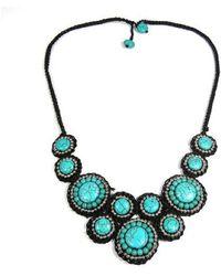 Aeravida - Mosaic Circles Turquoise Stone Unique Fashion Necklace - Lyst