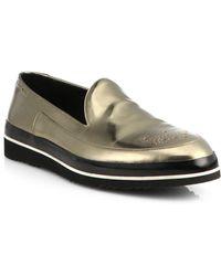 Nicholas Kirkwood - Fiore Metallic Slip-on Loafers - Lyst