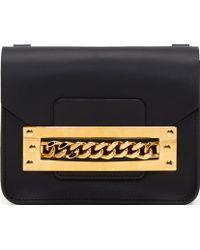 Sophie Hulme Black Leather Gold Chain Mini Envelope Bag - Lyst