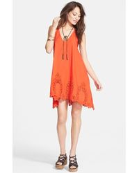 Free People 'Easy Livin' Lace Hem Slipdress red - Lyst
