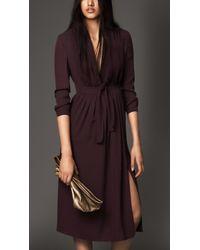 Burberry Silk Georgette Bow Detail Dress - Lyst