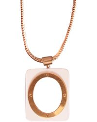 Tory Burch Oval Gold Metal And Resin Necklace - Lyst