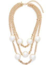 Kenneth Jay Lane Three Strand Glass Pearl Opera Necklace - Lyst