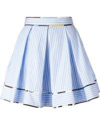 MSGM Striped Pleated Skirt - Lyst