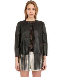 Blancha Fringed Laminated Nappa Leather Jacket - Lyst