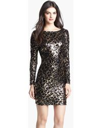 Dress the Population 'Lola' Animal Sequin Dress - Lyst