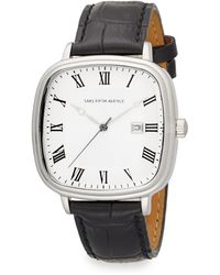 Saks Fifth Avenue Stainless Steel  Leather Square Dial Watch - Lyst