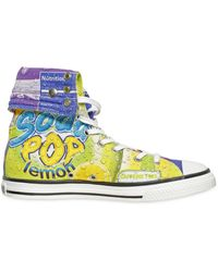 Moschino Soda Printed Canvas High Top Sneakers - Lyst