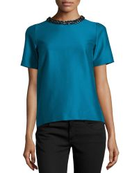 Stella McCartney Blue Embellished-Neck Top - Lyst
