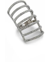 Michael Kors - Pave Cage Ring - Silver/Clear - Lyst