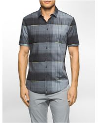 CALVIN KLEIN 205W39NYC - Ck One Slim Fit Grid Plaid Short Sleeve Shirt - Lyst
