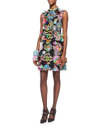 Libertine - Pompom Embellished Geometric-Print Dress - Lyst