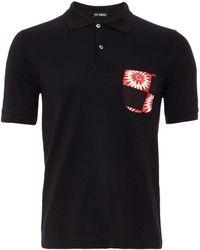 Raf Simons Black Checkerboard Pocket Polo Shirt - Lyst