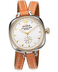 Shinola Gomelsky Two-Tone Stainless Steel & Leather Double-Wrap Watch - Lyst