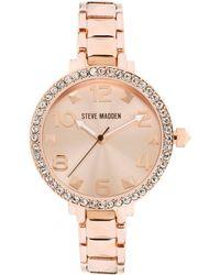 Steve Madden - Womens Rose Goldtone Pyramid Link Bracelet 35mm 03 - Lyst