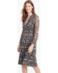 J.Crew | Petite Long-sleeve Dress In Feather Print | Lyst