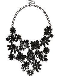 River Island Black Flower Bib Necklace - Lyst