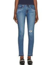 Nobody Denim Blue Distressed Cult Skinny Jeans - Lyst