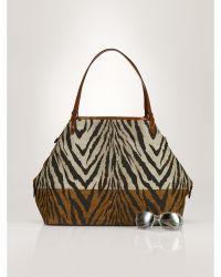 Ralph Lauren Zebra Canvas Tote animal - Lyst
