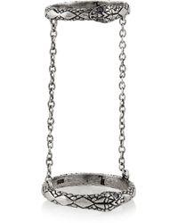 Pamela Love Chain Serpent Silver Sapphire Ring - Lyst