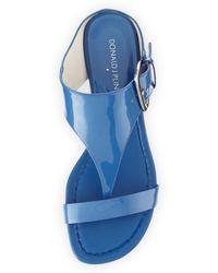 Donald J Pliner Doli Buckled Demiwedge Slide Capri Blue - Lyst