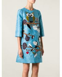 Dolce & Gabbana Owl Embroidered Dress - Lyst
