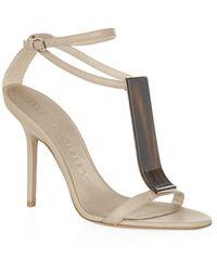 Burberry Gold Irvington Sandals - Lyst