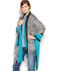 Calvin Klein Inked Grid Oversized Wrap - Lyst
