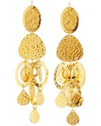 Jose & Maria Barrera | Golden Hammered Chandelier Earrings | Lyst