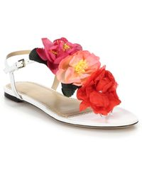 Charlotte Olympia Rosario Crepe Flower-Embellished Leather Sandals pink - Lyst