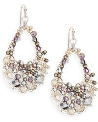Saks Fifth Avenue Beaded Open Teardrop Earrings - Lyst