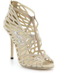 Jimmy Choo Fyonn Crystal-Embellished Laser-Cut Suede Sandals beige - Lyst