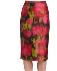 Michael Kors Zinnia Wool & Silk Shantung Floral-Print Skirt - Lyst