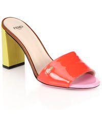 Fendi | Palette Patent Leather Slide Sandals | Lyst