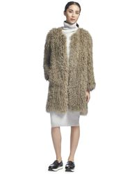 Whistles Longline Knit Sheepskin Coat - Lyst