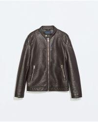 Zara Padded Shoulder Faux Leather Jacket - Lyst