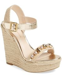 Pelle Moda 'Oates' Crystal Embellished Espadrille Wedge Sandal - Lyst