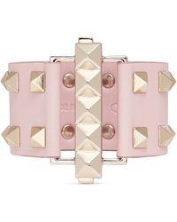 Valentino 'Rockstud' Bar Clasp Wide Leather Bracelet - Lyst