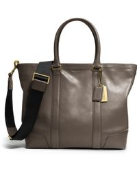Coach Bleecker Legacy Business Tote in Leather gray - Lyst