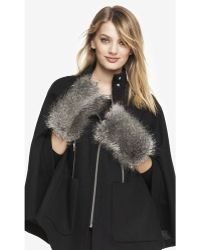 Express - Faux Gray Fox Fur Fingerless Mittens - Lyst