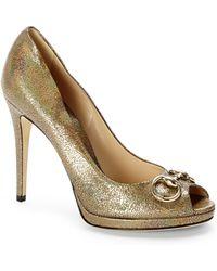 Gucci Bronze Metallic Peep Toe Pumps - Lyst