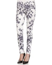 7 For All Mankind The Ankle Floral-Print Skinny-Fit Jeans - Lyst