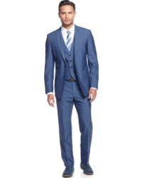 Calvin Klein Medium Blue Vested Slim X Fit Suit - Lyst