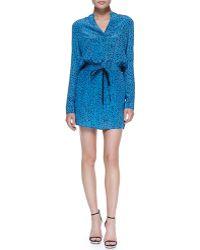 Robert Rodriguez Silk Chalk-Print Tie-Waist Long-Sleeve Dress blue - Lyst
