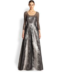 Kay Unger Sequined-Bodice Gown gray - Lyst